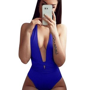 TIMELESSGEMS Swim - Monokini/One Piece Blue Swim Suit Bathing Suit